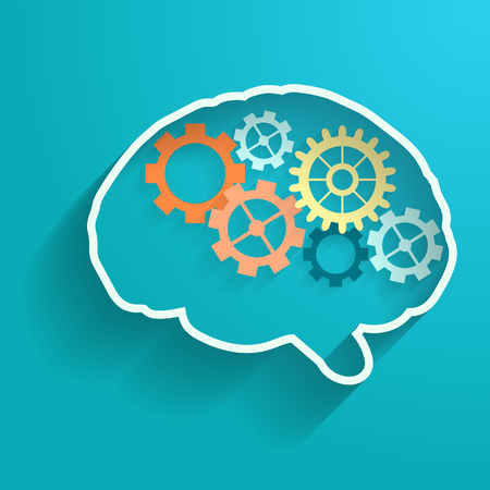 telepathy: Human brain with gears. Eps  vector for your design.