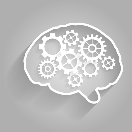 concentration gear: Human brain with gears. Eps  vector for your design.