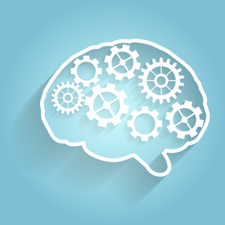 Human brain with gears. Eps  vector for your design.