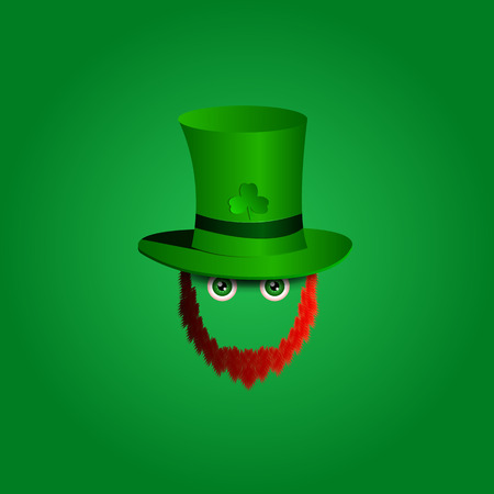 green eyes: modern design icon on Saint Patricks Day character leprechaun with green hat, red beard and green eyes.