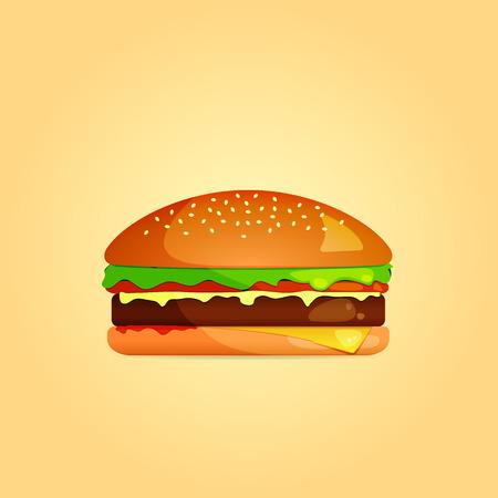 mustard seed: Simple Burger Icon. Illustration