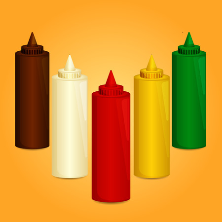 spilled: Bottles and spilled sauces of tomato ketchup, mustard, mayonnaise and other Illustration
