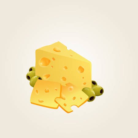 Triangular piece of cheese, cheese icon 3d, cheese realistic food, Vector illustration. Illustration