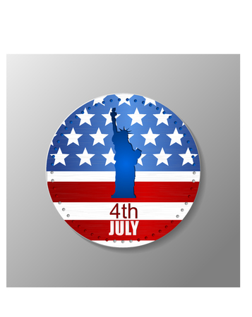 ny: Metal plate with U.S. flag and statue of Liberty. 4th of July. Independence day of United states.
