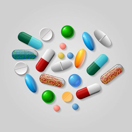 Tablets and pills vector set isolated on blue background. Vector EPS10