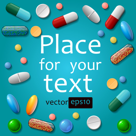 Medical pills on blue background. Vector eps10