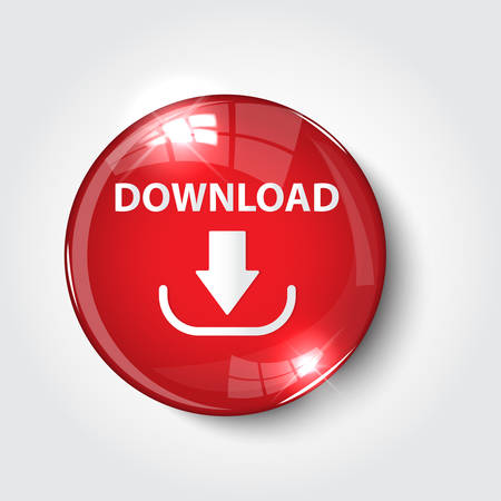 Button download color red glossy icon for website Vectores