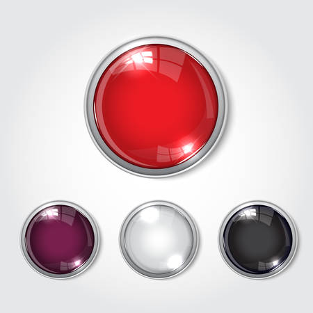 Web button in  glossy black reflective in white background
