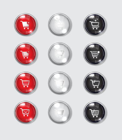 Web button in glossy black reflective icon of shopping in white background