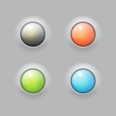 Glossy buttons with metal elements, vector design for website 2 Illustration