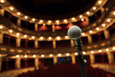 Close up of microphone in concert hall, theater Stockfoto