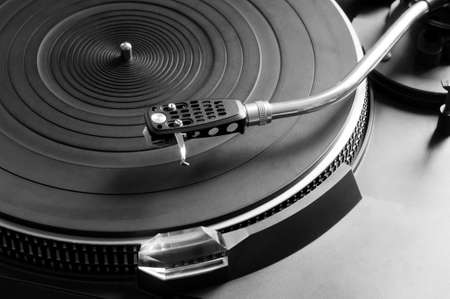 turntable: Music vinyl turntable Stock Photo