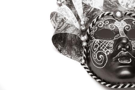 white mask: Venetian carnival mask theater isolated on white background Stock Photo