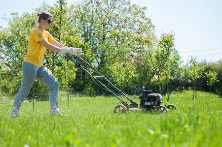 lawn grass: Young female in yard - pushing grass trimming lawnmower Stock Photo