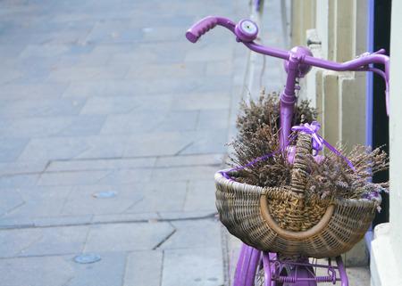 plainness: Pink bicycle with lavander basket