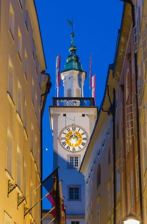 austria flag: Clock tower of Old Town Hall in Salzburg, Austria