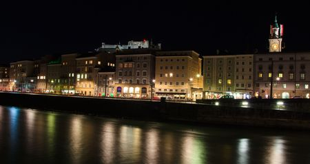 amadeus: Old historic city of Salzburg in Austria by night Stock Photo