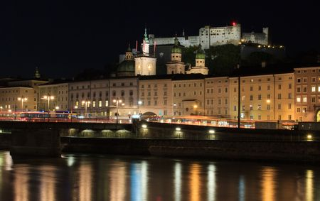 wolfgang: Old historic city of Salzburg in Austria by night Stock Photo