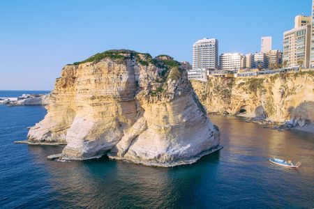 pigeon holes: Beirut pigeon rocks. Sea coast background.