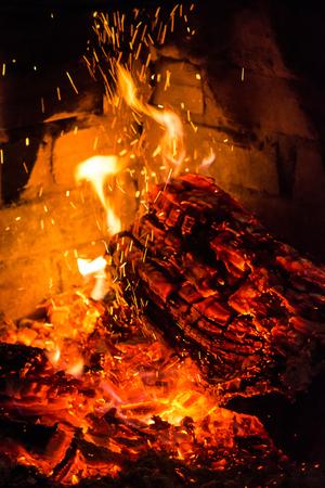 gas fireplace: Fireplace burning logs fire flame Stock Photo