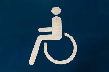 Disabled sign - Free vacant parking lot space in a Shopping centre multi story car park