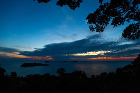 Vivid sunset at Ko Chang island in Thailand