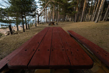 Beautiful distant picnic and camping spot Veczemju Klintis near a Baltic sea in a pine forest with a boulder beach in the background - 2019 Stock Photo