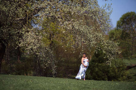 Young traveler pregnant woman walking, running, turning around and enjoys her leisure free time in a park with blossoming sakura cherry trees wearing a summer light long dress with flower pattern Archivio Fotografico