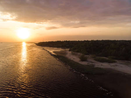 Beautiful aerial Riga port and river Daugava lanscape shots from drone - Top view from above