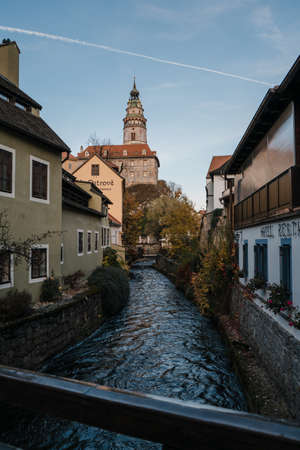 Cesky Krumlov river view over the castle and medieval houses - Czech Republic