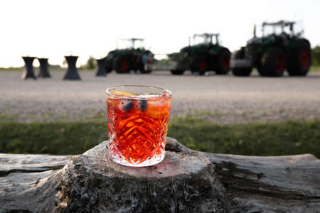 Cocktail summer in vivid red color with blueberry and orange standing on a wooden log in a countryside Stock Photo
