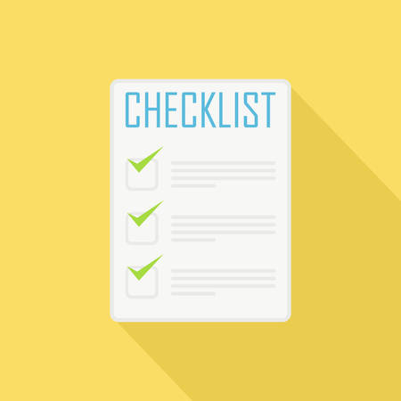checklist: Flat Style Icon with Long Shadow. A checklist. Concept for productive lifestyle education, training courses, self-development and how-to articles. Illustration