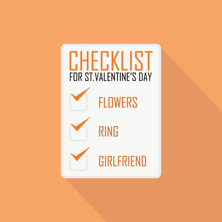 checklist: Flat Style Icon with Long Shadow. A checklist for Valentines day. Concept for Saint Valentines day, training courses, self-development and how-to articles for men and women.