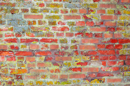 old red brick wall of an ancient building with lichen Standard-Bild