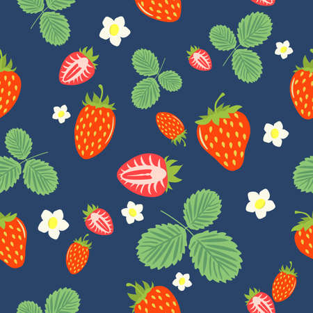 Seamless pattern of ripe wild berries, strawberries with flowers and leaves, design for textiles, posters, labels.