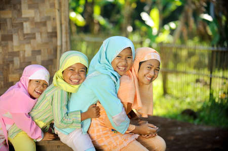 indonesia people: Group of happy kids Stock Photo