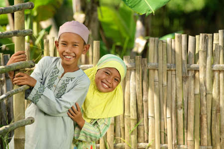 Playful Muslim Kids Stock Photo