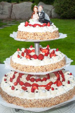 boda pastel: pastel de bodas con las fresas en el jard�n