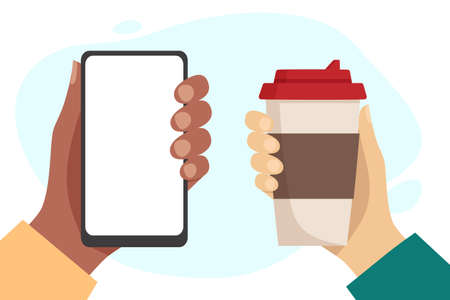 African hand holding phone with blank white screen. White hand holding a cup of hot drink. Coffee to go and outdoor time concept. Flat vector illustration on white background