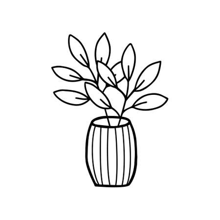 Flowers in a vase doodle hand drawn outline icon or symbol. Decorative flowers house plant sketch. Isolated vector illustration