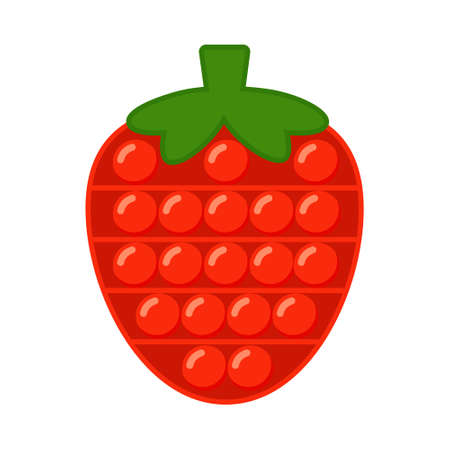 Pop It Fidget Trendy Antistress Sensory Toy Strawberry Shape. Flat style isolated vector illustration. Hand toy for kids and adults for relaxation