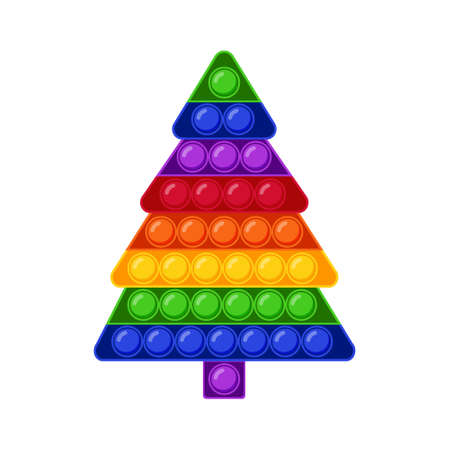 Pop It Fidget Trendy Anti stress Sensory Toy Christmas Tree Shape. Flat style isolated vector illustration. Hand toy for kids and adults for relaxation