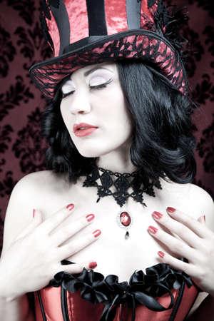 red corset: A burlesque woman