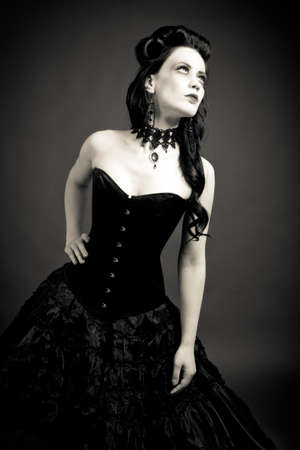 tough: Portrait of a gothic woman  Stock Photo