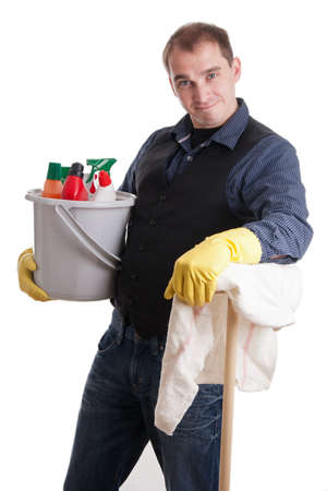 role reversal: House husband with bucket full of cleaning products and broom