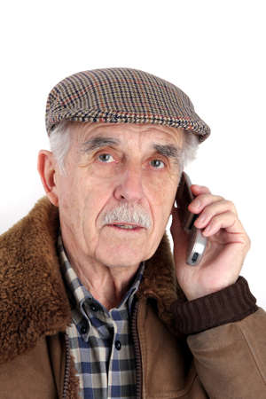 A senior using a mobile phone