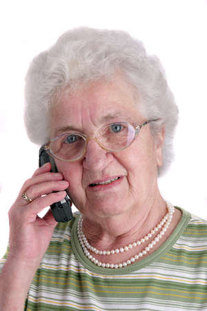 A old woman with phone