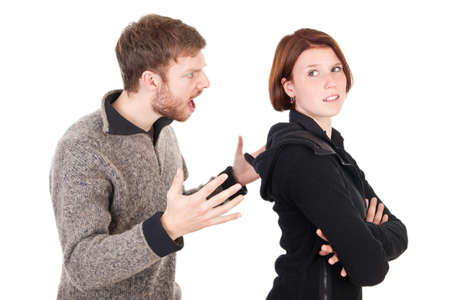 Young adult couple have an argument Stock Photo