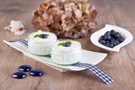 Fresh blueberry yogurt photo
