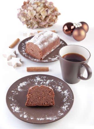 Christmas cake with a cup of tea coffee  photo